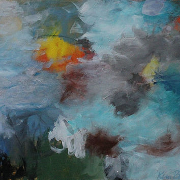 """Small Abstract Landscape Painting Acrylic Original Artwork """"Nothing to Cling To"""""""