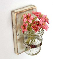 shabby chic sconce Cottage Decor vase wood Vintage White