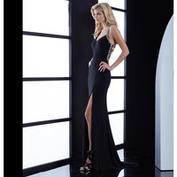 Black Beaded Low Cut Out Back Gown Prom 2015