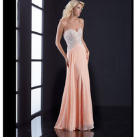 Jasz Couture Peach Beaded Bodice Strapless Open Back Dress Prom 2015