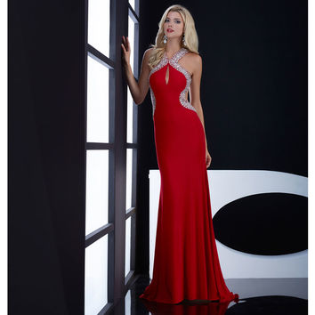 Jasz Couture Red Dazzling Keyhole Open Back Dress Prom 2015