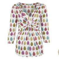 Leaf Print Cotton Mix Gathered Front Top at LAURA ASHLEY