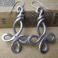 Big Celtic Cross Earrings - Loopy Bliss -  Light Weight Aluminum Wire