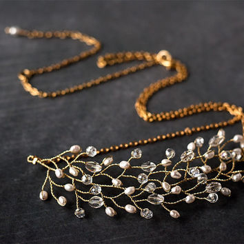 Crystal necklace, Twig jewelry, Gold necklace, Bride Necklace, Pearl Jewelry, Wedding neckalce, Hair accessory, Vine necklace, Accessories.