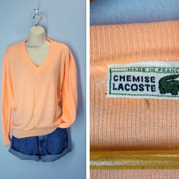 Vintage 1970s Sweater / Lacoste Peach Vee Neck Sweater