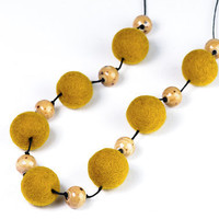 Autumn Mustard Yellow Long Necklace Chunky Fall Fashion Jewelry