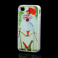 Rubber Case The Tightrope Girl Printing Case for iPhone 4 and iPhone 4s