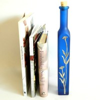 Decorative Tall Blue Glass Bottle Twirlled Pewter Motif £18