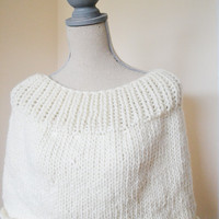The Cloud Capelet/Cowl - Ready to Ship - Fall Capelet, Ivory Chunky Knit Cowl