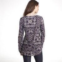 Printed Tunic Blouse With Jellabah Neckline