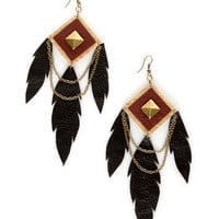 Claire Fong Earrings - Black Earrings - Leather Earrings - $39.00