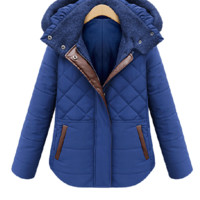 Mykonos Blue Brown Leather Trim Quilted Jacket