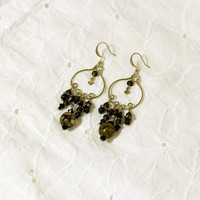 Hand twisted Green Chandelier Earrings