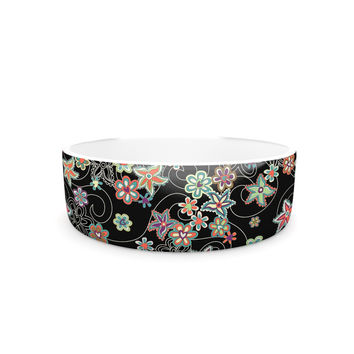 "Julia Grifol ""My Small Flowers"" Black Floral Pet Bowl"