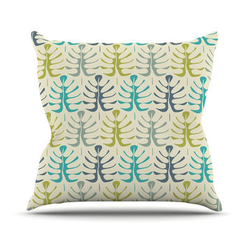 "Julia Grifol ""My Leaves"" Teal Green Throw Pillow"