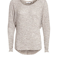 Grey Lurex Roll Sleeve Knitted Top