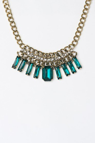 Emerald Baguette Bib Necklace - ShopSosie.com