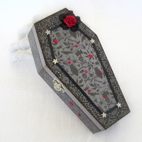 Halloween Decor Coffin Box Halloween Decoration Spooky Gift Box Gray Black Decorated Coffin Box Red Rose