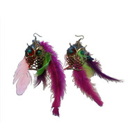 Metal Owl and Multi-Colored Feather Earrings