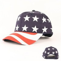 American Flag All Over Adjustable Baseball Hat (Snap Closure)