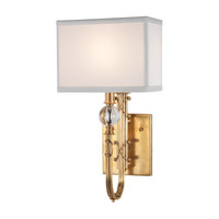 Mary McDonald Collection Small Wall Sconce design by Robert Abbey - Natural Brass / Crystal / Rectangular