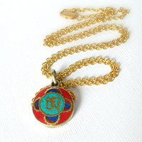 Long Gold Om Necklace from Nepal, Yoga Jewelry, Nepali Turquoise, Coral, Lapis, Brass Pendant, Boho Fashion, On Trend, Gift Ideas, Hipster