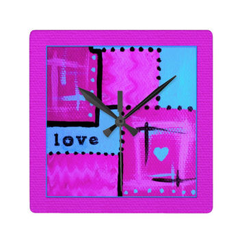 Square Wall Clock Abstract Love Typography Art in hot pink and aqua
