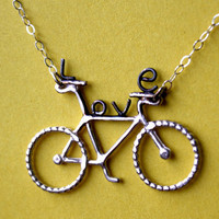 Bike Love Sterling Silver Handmade Necklace by luckyduct on Etsy