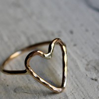 Handmade to Order 14K Gold fill Heart Ring by Rachel by luckyduct