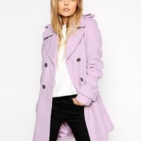 ASOS Coat with Belt And Flared Hem in Brushed Finish