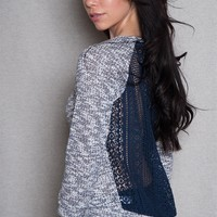Lace Back Variegated Knit Sweater - Navy