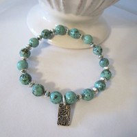 African Turquoise Bracelet - with Asian Coin by 636designs