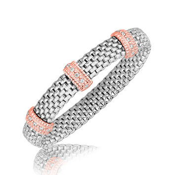 Sterling Silver Rhodium Plated Mesh Motif Bracelet with Crystal Pink Tone Stations