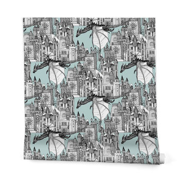 Sharon Turner Dragon Kingdom Winter Toile Wrapping Paper - 2' x 10' Roll