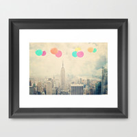 Balloons over the City Framed Art Print by Maybesparrowphotography