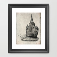 The Snail's Dream (monochrome option) Framed Art Print by Eric Fan