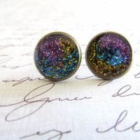 Purple Galaxy Stud Earrings on Luulla