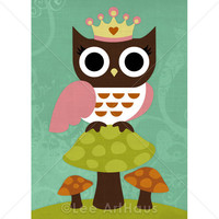 49R Retro Princess Owl 5 X 7 Print on Luulla