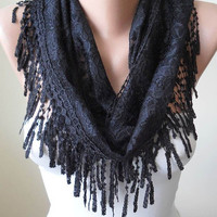 New -Lightweight - Black Lace Scarf with Black Trim Edge - Lace Fabric