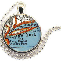 New York City map necklace pendant charm: New York jewelry charms, map jewelry, photo pendant