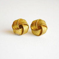 Textured Gold Knot Earrings - Summer &amp; Fall Fashion Jewelry - Bridesmaids Gift - Free Shipping in the US