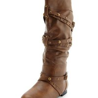 Studded Strappy Flat Boot: Charlotte Russe
