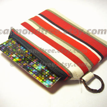 Red small zip purse id1340555, coin zippered change purse, wallet, padded gadget cosmetic toiletry pouch sewing accessories, card holder