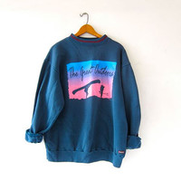 Vintage Blue & Neon Sweatshirt. The Great Outdoors. Boho Sweater.