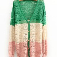 Product search_Mixed Color Hollow V-neck Knit Cardigan_udobuy - Fashion Dress with Free Shipping