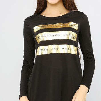 Smiley Gold Graphic Long Top