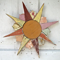 Sun Reclaimed Wood Mosaic Wall Art Sunburst Starburst