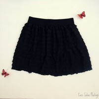 Black Ruffle Skirt by One Last Stitch made to order in sizes 2T-4T, CUSTOM ORDERS for additional sizes also available.