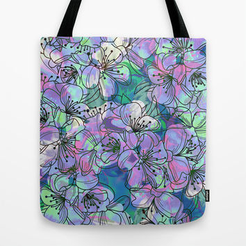 Little Purple Flowers Tote Bag by Klara Acel