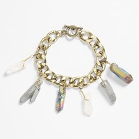 Women's Leith Stone & Chain Link Bracelet - Gold